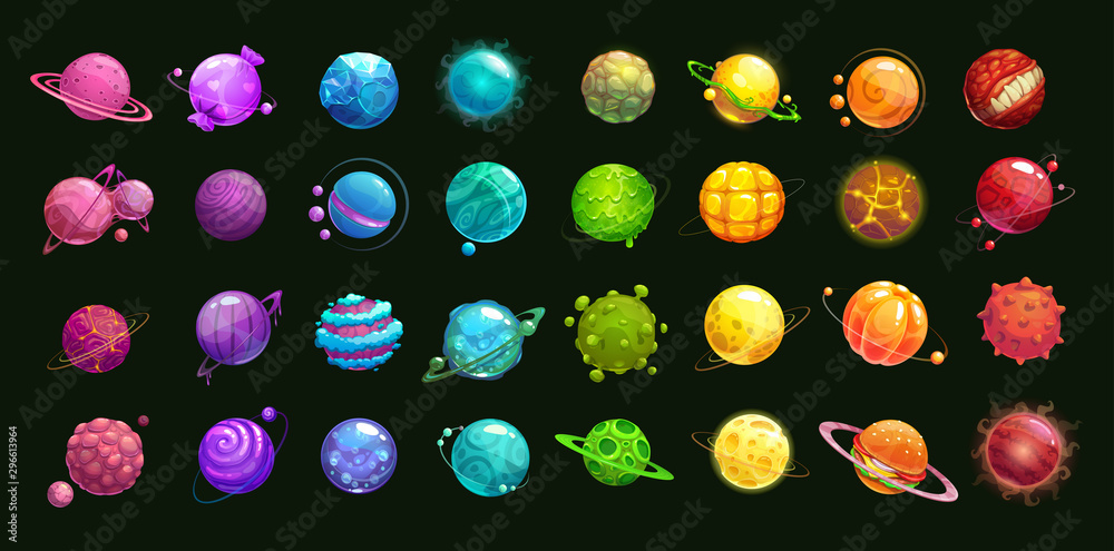 Fototapety, obrazy: Mega huge pack of fantasy cartoon colorful planets.