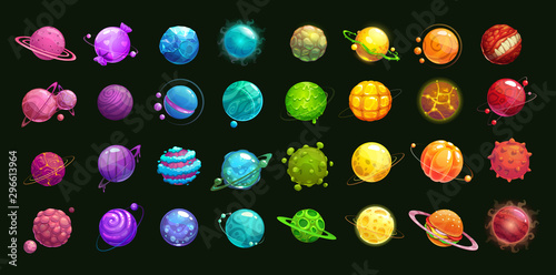 Obraz Mega huge pack of fantasy cartoon colorful planets. - fototapety do salonu