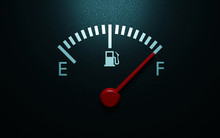 A Closeup Of A Car Fuel Gauge. 3d Render