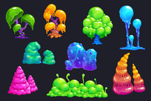 Fantasy Slime Plants. Alien Slimy Mushrooms Set.