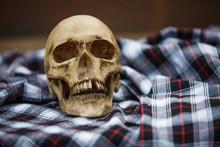 A Human Skull On A Checkered B...