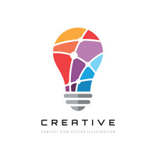 Creative Idea - Vector Logo Template Concept Illustration. Lightbulb Icon Design.