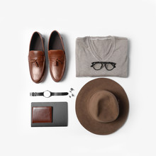 Stylish Male Autumn Outfit And Accessories On White Background, Flat Lay. Trendy Warm Clothes