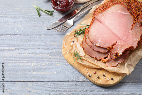 Fototapeta Delicious ham served on grey wooden table, above view. Space for text obraz