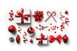 Leinwandbild Motiv Christmas gift boxes with red ribbon, sparkles, confetti and decoration on white background. Xmas and Happy New Year holiday. Flat lay, top view