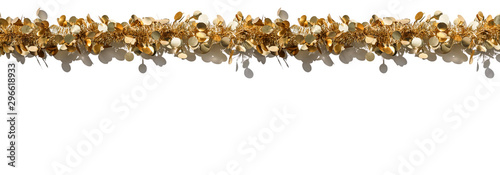 Christmas gold tinsel decoration for holiday on white background Wallpaper Mural