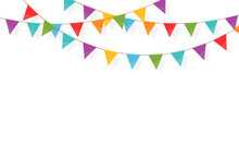 Carnival Garland With Flags. Festive Multicolored Buntings For Holiday Design