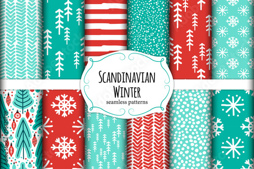 Cute Scandinavian Winter hand drawn seamless patterns set