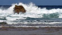 Powerful Waves Crashing On A L...
