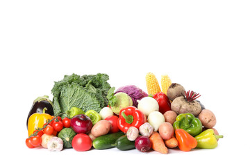 Composition with ripe organic vegetables isolated. Good harvest