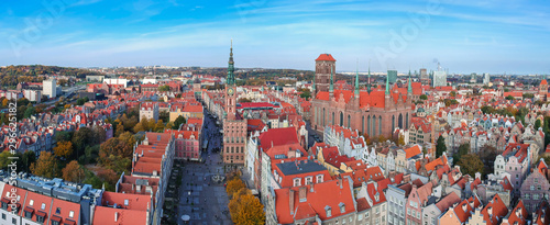 Aerial panorama of the old town in Gdansk, Poland