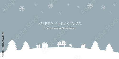 Foto auf Gartenposter Dunkelgrau christmas greeting card with firs gifts and snowfall vector illustration EPS10