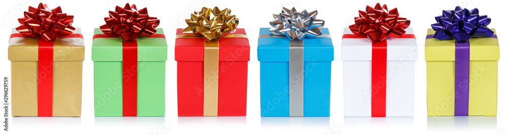 Fototapeta christmas presents birthday gifts in a row isolated on white
