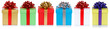canvas print picture - christmas presents birthday gifts in a row isolated on white