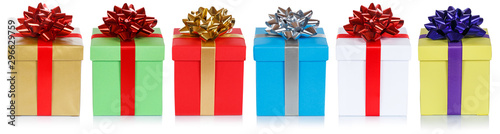 Fototapeta christmas presents birthday gifts in a row isolated on white obraz