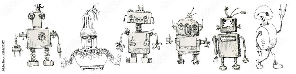 Fototapeta Team of robots. Vintage toys. Ink drawing.