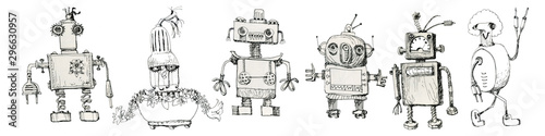 Team of robots. Vintage toys. Ink drawing.