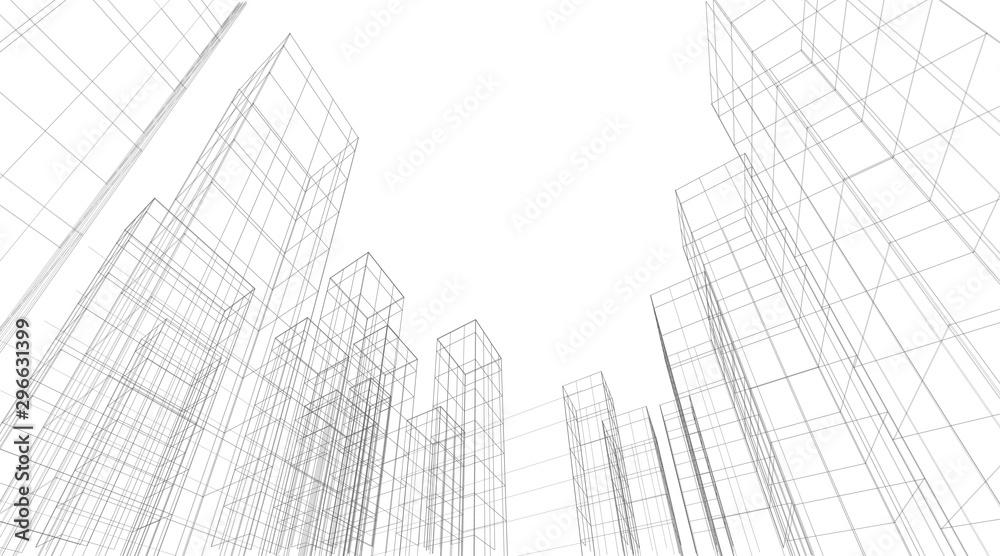 Fototapeta Architecture building 3d. Concept sketch. Vector backdrop