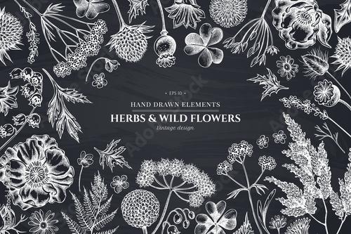 Fotografia  Floral design with chalk shepherd's purse, heather, fern, wild garlic, clover, g