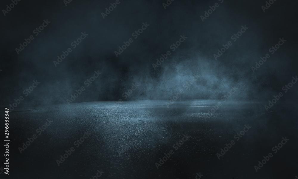Fototapety, obrazy: Dark street, wet asphalt, reflections of rays in the water. Abstract dark blue background, smoke, smog. Empty dark scene, neon light, spotlights. Concrete floor