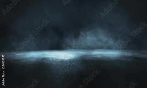 Dark street, wet asphalt, reflections of rays in the water. Abstract dark blue background, smoke, smog. Empty dark scene, neon light, spotlights. Concrete floor - 296633355