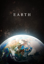 Planet Earth In Deep Dark Space. Civilization. Blue Marble. Vertical Wallpaper. Elements Of This Image Furnished By NASA