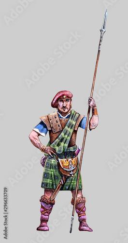 Fotografia A bold highlander. Scottish warrior drawing. Fantasy figur.