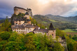canvas print picture Beautiful Orava castle in Oravsky Podzamok in Slovakia. Morning landscape.