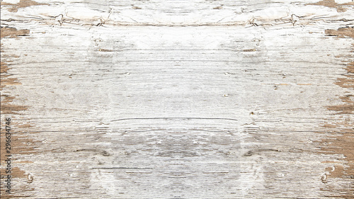 Fotomural  old white painted exfoliate rustic bright light wooden texture - wood background