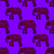 Leinwanddruck Bild - Creative seamless pattern with indian elephant. Holiday fashion print. Can be used for any kind of a design.