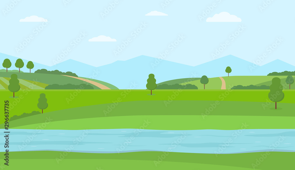 Fototapety, obrazy: Flat vector illustration with river, green hills and mountains. Rural summer landscape.