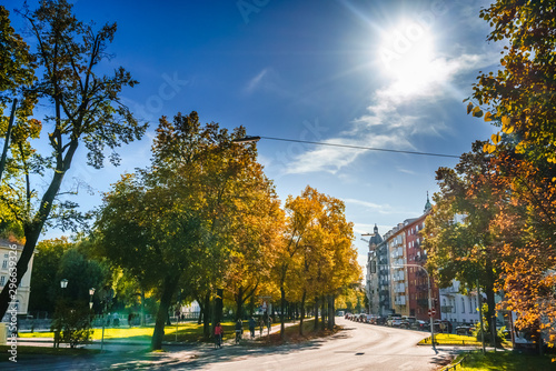 Autumn lanscape in the streets of Munich, Germany