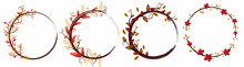 Wreath  Autumn With Flowers Ve...