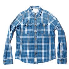 Blue Check Flannel Men's Shirt On White Background