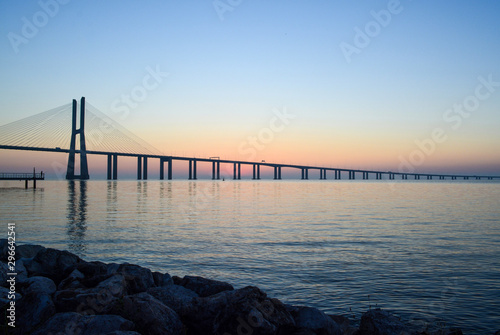 Peaceful landscape of dawn over Vasco da Gama Bridge, Lisbon, Portugal Wallpaper Mural