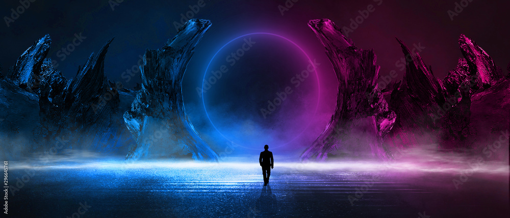 Fototapeta Modern futuristic abstract background. Large object in the center, space background. Dark scene with neon light.