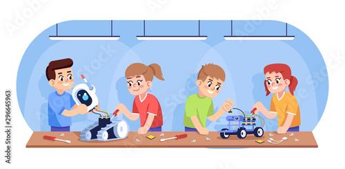 Kids assembling robots flat vector illustration Canvas Print