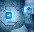 Leinwanddruck Bild Artificial intelligence concept with woman