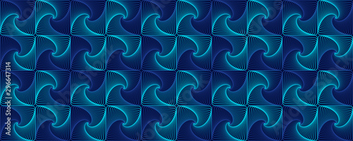 Obraz na plátně  Blue interlocking fractal tessellations geometric seamless pattern vector design