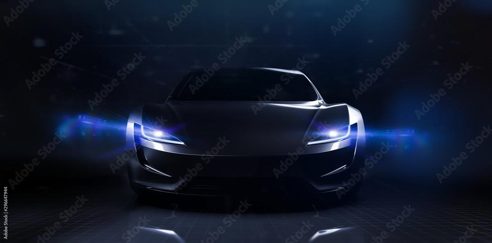Fototapety, obrazy: Futuristic sports car on dark technology backgorund (3D Illustration)