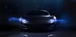 Futuristic sports car on dark technology backgorund (3D Illustration)