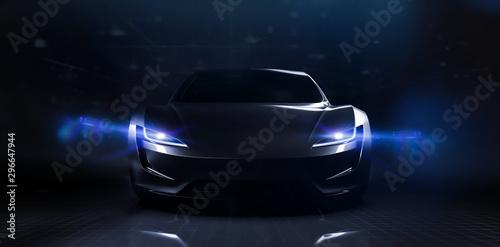 Fototapeta Futuristic sports car on dark technology backgorund (3D Illustration) obraz