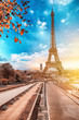 View of Eiffel Tower at sunrise from Jardins du Trocadero in Paris, France. Eiffel Tower is one of the most iconic landmarks of Paris.