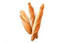 Three Baguette Bread Isolated On White Background