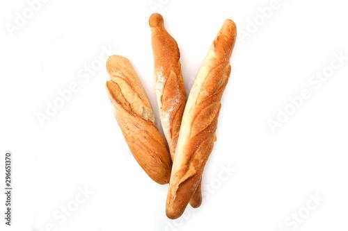 Fototapeta Three baguette bread isolated on white background obraz