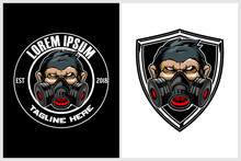 Monkey With Gas Mask Round Badge Logo Template