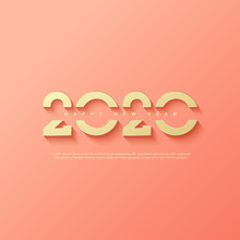 Happy New Year 2020 Logo Text Design. Greeting Cards Or Print.