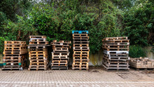 Stacks Of Wooden Pallets In A ...