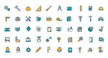 Work Tools Engineering Icons C...