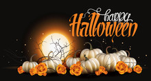 Halloween Background With White Pumpkins And Orange Roses Vector Illustration. Romantic And Elegant Halloween Background.